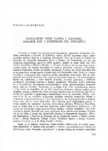 Kazališne veze Zadra i Zagreba krajem XIX. i početkom XX. stoljeća / Tihomil Maštrović