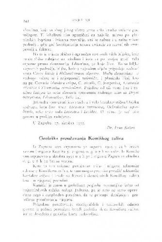 Geološka proučavanja Komiškog zaliva / M. Salopek