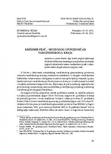 Krešimir Filić - muzeolog i povjesničar varaždinskoga kraja / Spomenka Težak