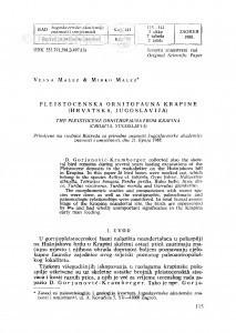 Pleistocenska ornitofauna Krapine (Hrvatska, Jugoslavija) / V. Malez, M. Malez