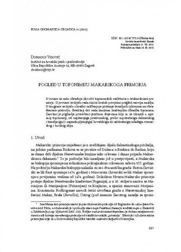 Pogled u toponimiju Makarskoga primorja / Domagoj Vidović
