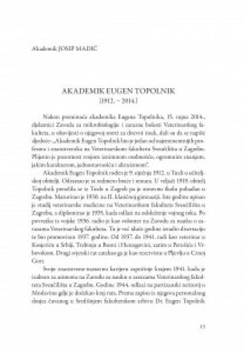 Akademik Eugen Topolnik : komemoracija / Slavko Cvetnić