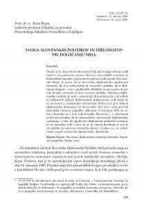 Vloga Slovenskih politikov in diplomatov pri določanju meja / Božo Repe