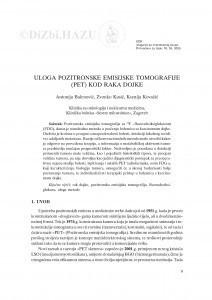 Uloga pozitronske emisijske tomografije (PET) kod raka dojke / Antonija Balenović, Zvonko Kusić, Ksenija Kovačić