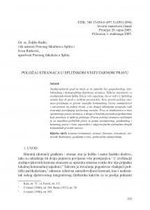 Položaj stranaca u splitskom statutarnom pravu / Željko Radić; Ivica Ratković