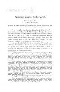 Nekoliko pisama Boškovićevih / V. Varićak