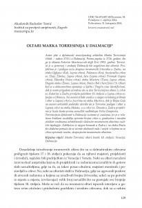 Oltari Marka Torresinija u Dalmaciji / Radoslav Tomić