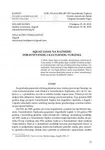 Aquae Iasae na razmeđu zdravstvenog i kulturnog turizma / Eduard Kušen, Nina Kušen Tomljanović