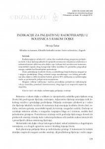 Indikacije za palijativnu radioterapiju u bolesnica s rakom dojke / Hrvoje Šobat