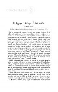 O Jegjupci Andrije Čubranovića / L. Zore