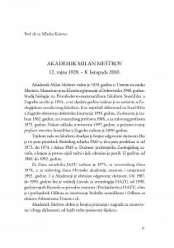 Akademik Milan Meštrov, 12. rujna 1929. - 8. listopada 2010. / Mladen Kerovec