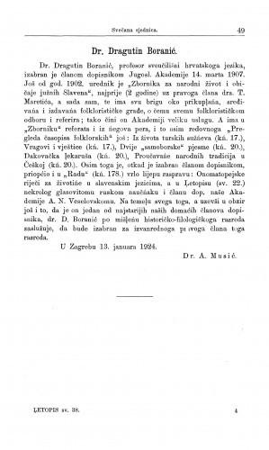 Dr. Dragutin Boranić / A. Musić