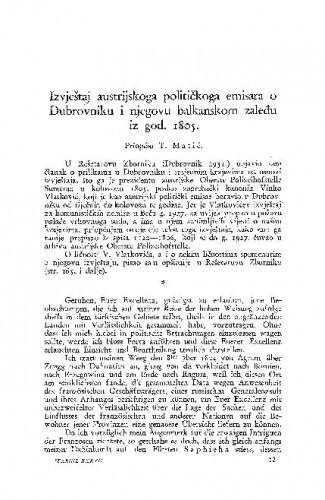 Izvještaj austrijskoga političkoga emisara  o Dubrovniku i njegovu balkanskom zaleđu iz god. 1805. / Tomo Matić
