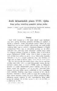 Jezik dalmatinskih pisaca XVIII. vijeka : drugi prilog istoričkoj gramatici našega jezika / T. Maretić