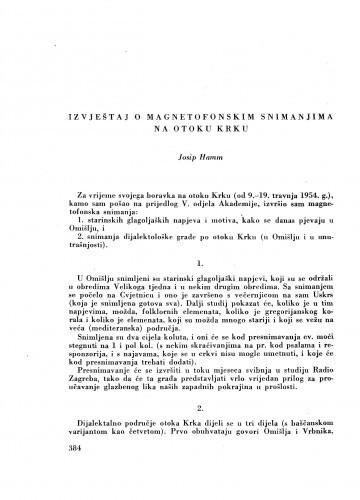 Izvještaj o magnetofonskim snimanjima na otoku Krku / J. Hamm