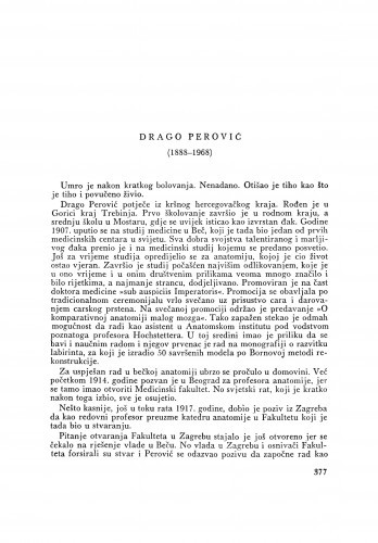 Drago Perović (1888-1968) : [nekrolog] / F. Kogoj i I. Čupar