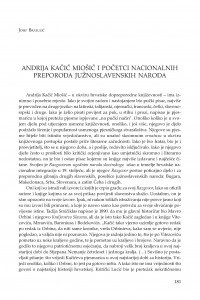 Andrija Kačić Miošić i početci nacionalnih preporoda južnoslavenskih naroda / Josip Bratulić