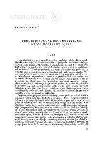Progredijentne degenerativne nagluhosti kod djece / R. Subotić