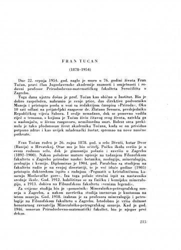 Fran Tućan (1878-1954) : [nekrolog] / M. Tajder