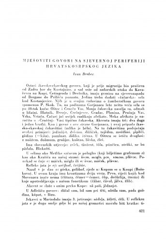 Mješoviti govori na sjevernoj periferiji hrvatskosrpskog jezika / I. Brabec