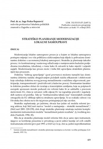 Strateško planiranje modernizacije lokalne samouprave : [uvodno izlaganje] / Inge Perko-Šeparović