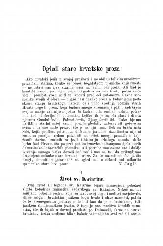 Ogledi stare hrvatske proze : Život sv. Katarine / Vatroslav Jagić