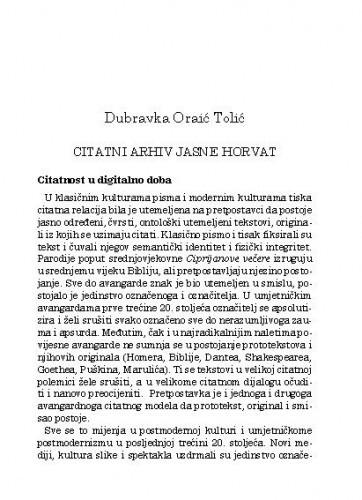 Citatni arhiv Jasne Horvat / Dubravka Oraić Tolić