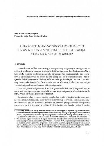 Usporedba hrvatskog i engleskog prava i poslovne prakse osiguranja odgovornosti marine / Marija Pijaca