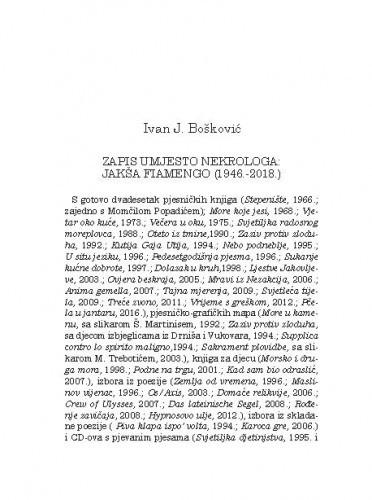 Zapis umjesto nekrologa: Jakša Fiamengo (1946.-2018.) / Ivan J. Bošković