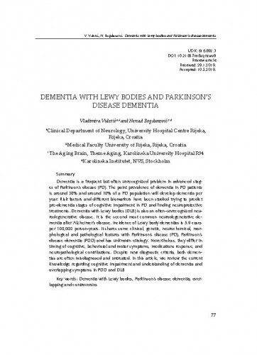 Dementia with Lewy bodies and Parkinson's disease dementiaVladimira Vuletić, Nenad Bogdanović