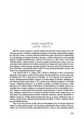 Josip Vaništa (1924.-2018.) : [nekrolog] / Tonko Maroević