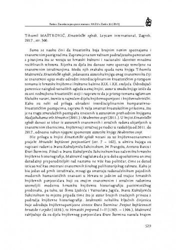 Tihomil Maštrović, Kroatološki ogledi, Leycam international, Zagreb, 2017. : [prikaz] / Andrea Sapunar Knežević