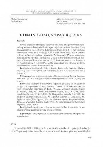 Flora i vegetacija Sovskog jezera / Mirko Tomašević, Dinko Zima