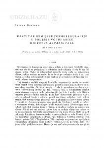 Razvitak kemijske termoregulacije u poljske voluharice Microtus arvalis Pall / S. Gelineo