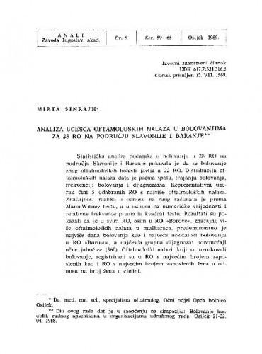 Analiza učešća oftamoloških nalaza u bolovanjima za 28 RO na području Slavonije i Baranje / Mirta Sinrajh