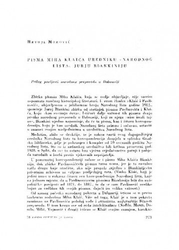 Pisma Miha Klaića uredniku