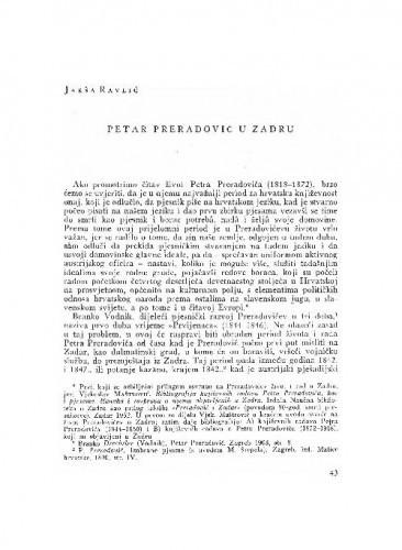 Petar Preradović u Zadru / Jakša Ravlić
