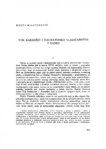 Vuk Karadžić i dalmatinsko vladičanstvo u Zadru / Kosta Milutinović