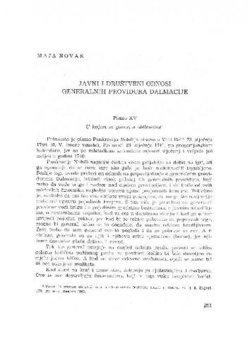 Javni  i društveni odnosi generalnih providura Dalmacije / Maja Novak