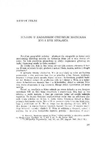 Ninjani u zadarskim crkvenim maticama XVI i XVII stoljeća / Roman Jeličć