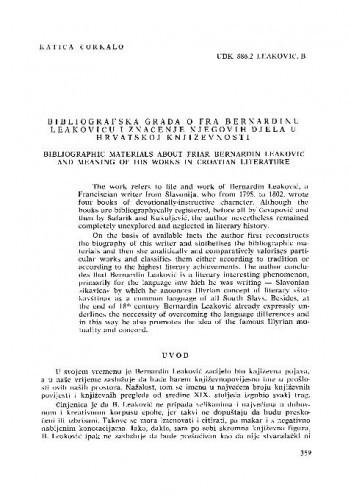 Bibliografska građa o fra Bernardinu Leakoviću i značenje njegovih djela u hrvatskoj književnosti / Katica Čorkalo