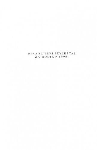 Financijski izvještaj za godinu 1996.