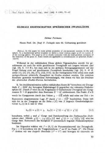 Globale Eigenschaften spährischer Zwangläufe / H. Pottmann