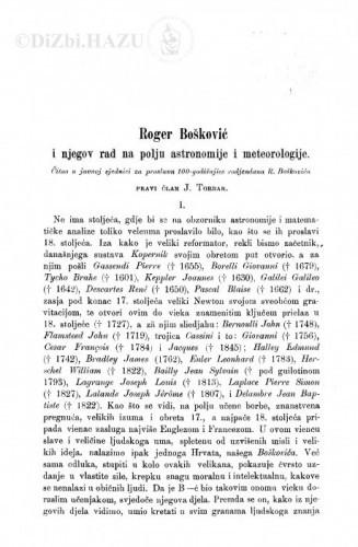 Roger Bošković i njegov rad na polju astronomije i meteorologije / J. Torbar