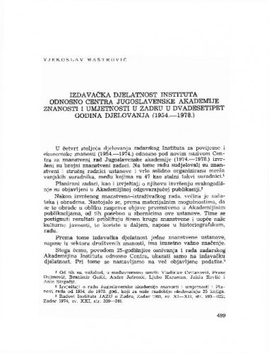 Izdavačka djelatnost Instituta odnosno Centra Jugoslavenske akademije znanosti i umjetnosti u Zadru u dvadesetipet godina djelovanja : (1954.-1978.) / Vjekoslav Maštrović
