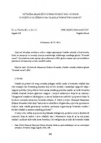 Ustaška mladež u Dubrovniku 1941. godine u svjetlu službenoga glasila Hrvatski narod : Radovi Zavoda za povijesne znanosti HAZU u Zadru