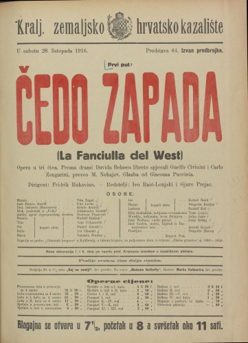 Čedo zapada Opera u tri čina  =  La Fanciulla del West