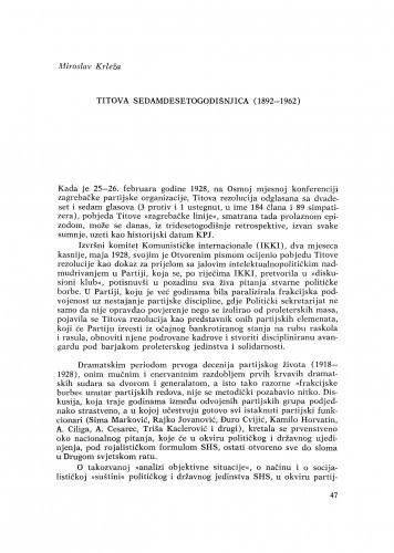 Titova sedamdesetogodišnjica (1892-1962) / M. Krleža