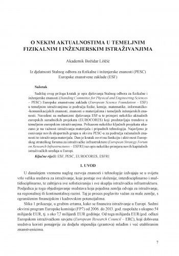 O nekim aktualnostima u temeljnim fizikalnim i inženjerskim istraživanjima / Božidar Liščić