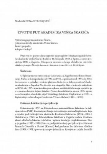 Životni put akademika Vinka Škarića / Nenad Trinajstić